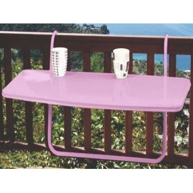 Metal Katlanır Balkon Masası 46x86cm - Pembe