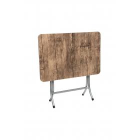 Ceviz Renk Katlanır Masa Metal Ayaklı 60x90cm - Ceviz