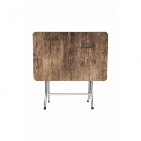 Ceviz Renk Katlanır Masa Metal Ayaklı 70x110cm
