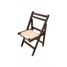 Örgülü Oturaklı Katlanır Ahşap Sandalye - Ceviz