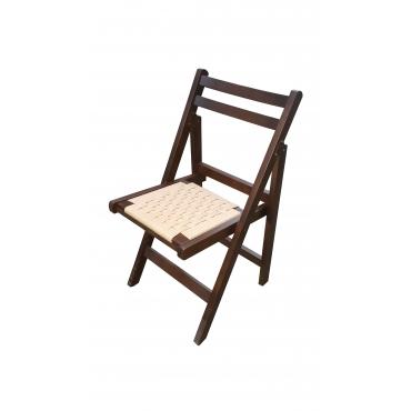 Örgülü Oturaklı Katlanır Ahşap Sandalye