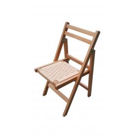 Örgülü Oturaklı Katlanır Ahşap Sandalye - Çam