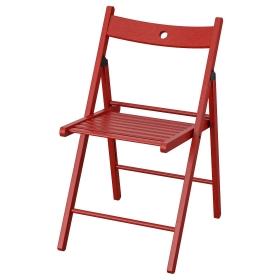 İKEA Masif Kayın Ağacı Katlanır Ahşap Sandalye - Kırmızı
