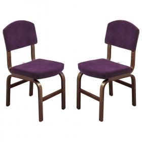 2 li Kumaş Ahşap Sandalye - Mürdüm