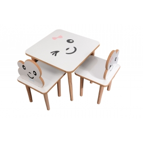 2 Kişilik Ahşap Çocuk Masa Sandalye Takımı Aktivite Masası - Pembe