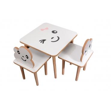 2 Kişilik Ahşap Çocuk Masa Sandalye Takımı Aktivite Masası
