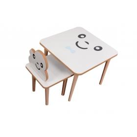 Ahşap Çocuk Masa Sandalye Takımı Aktivite Masası - Mavi