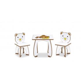 2 Kişilik HelloKitty Çocuk Masa Sandalye Takımı Aktivite Masası - Kahve