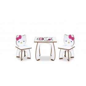 2 Kişilik HelloKitty Çocuk Masa Sandalye Takımı Aktivite Masası - Pembe