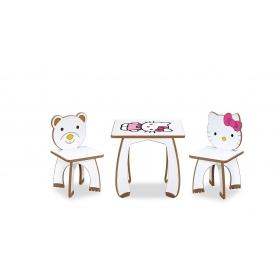 2 Kişilik HelloKitty Çocuk Masa Sandalye Takımı Aktivite Masası - Karışık Renkli
