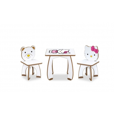 2 Kişilik HelloKitty Çocuk Masa Sandalye Takımı Aktivite Masası