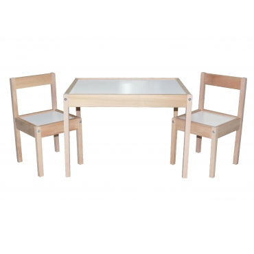 2 Kişilik Ahşap Çocuk Masa Sandalye Takımı