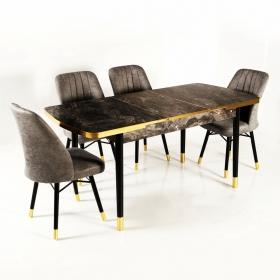 Evform Kuvars Açılır Yemek Masa Sandalye Takımı Altın Detay