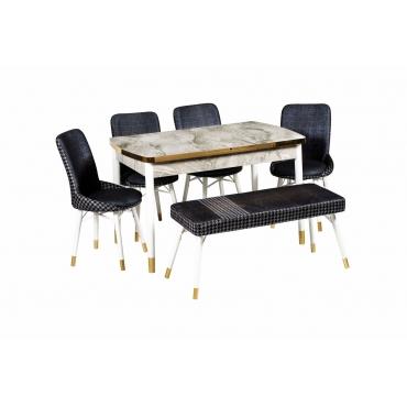 Lal Banklı Masa Sandalye Takımı Altın Detaylı