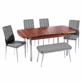 İnci 6 Kişilik Açılır Yemek Banklı Masa Sandalye Takımı
