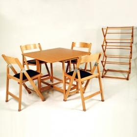 Ahşap Katlanır Masa ve Sandalye Takımı Bahçe Balkon Kurutmalık Hediyeli