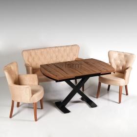 Çay seti koltuk takımı x ayaklı açılır masa seti