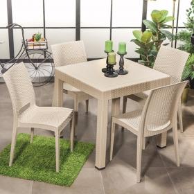 Rattan Kolsuz 4 Sandalye Masa Takımı Bahçe