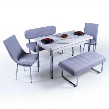 Ovale 6 Kişilik Gri Mutfak Masası Takımı Banklı Takım Mermer Masalı
