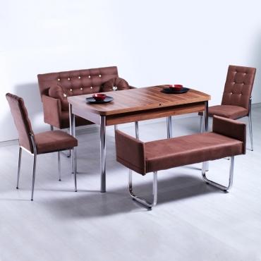Mono Kollu Kapitone Bank Takımı ve Açılır Ceviz Mutfak Masası