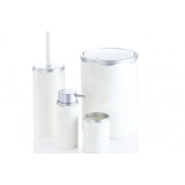 Akrilik Banyo Takımı 4'lü Banyo Seti Beyaz Gümüş