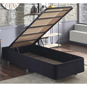 Tek Kişilik Sandıklı Siyah Kumaş Baza 100x200 cm
