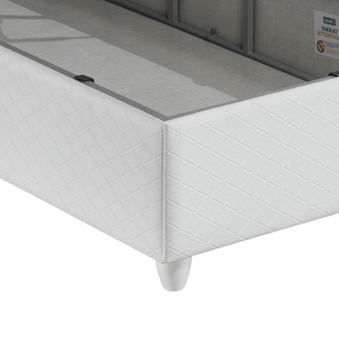 Tek Kişilik Beyaz Baza ve Başlık Seti 90x190cm