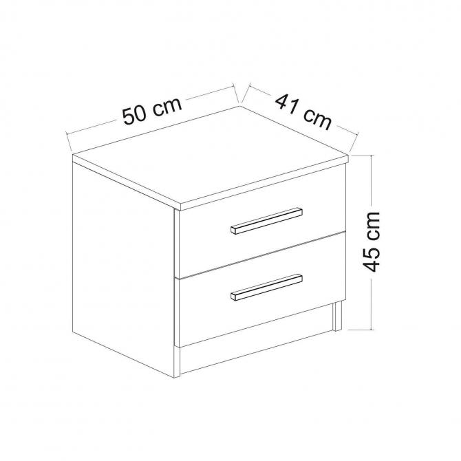 Çift Çekmeceli Modern Tasarım Komodin 50x45x41 cm