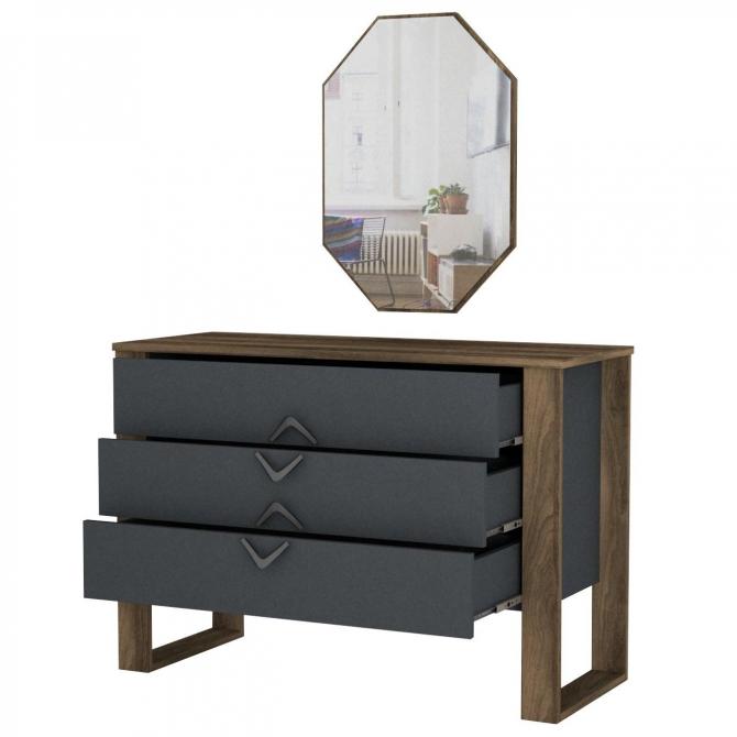 Aynalı Modern Tasarım Şifonyer Ceviz Siyah Renk