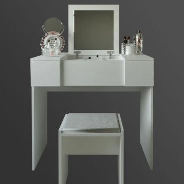 Puflu Makyaj Masası Takımı Aynalı Kapaklı Beyaz Renk