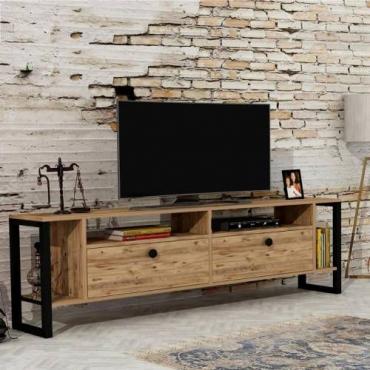 Metal Ayaklı TV Ünitesi Çam Rengi 150cm