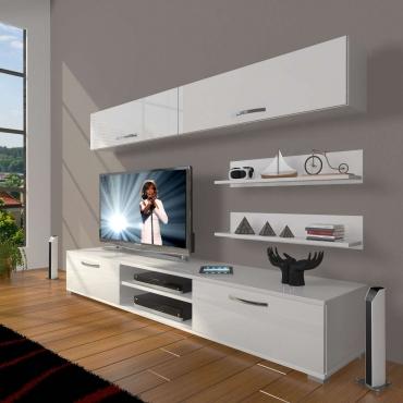 Raf Hediyeli Duvar Modüllü TV Ünitesi 180cm