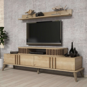 Raflı Dolaplı Lüks TV Ünitesi 168cm