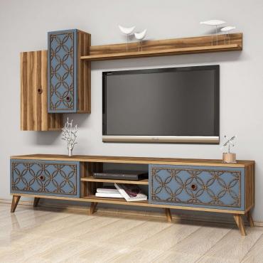 Şık Motifli TV Ünitesi 4 Dolaplı 180cm