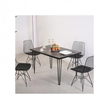 4 Kişilik Siyah Tel Sandalyeli Siyah Taş Mutfak Balkon Masa Takımı