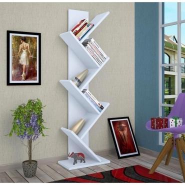 Dekoratif Kullanışlı Kitaplık Beyaz Renk 135cm