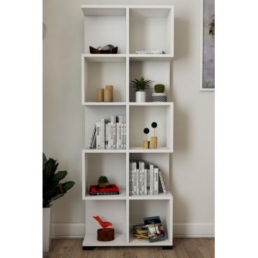 Çok Raflı Kullanışlı Kitaplık Beyaz Renk 161cm