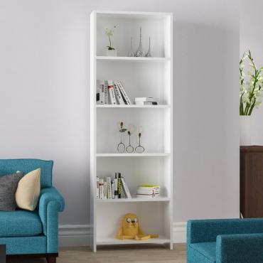 5 Raflı Geniş Kitaplık Beyaz Renk 165cm
