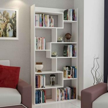 10 Raflı Kitaplık Beyaz Renk 182cm