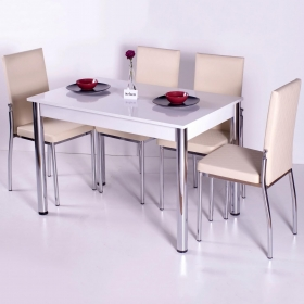 Favorite Mutfak 4 Sandalye Masa Takımı - Krem