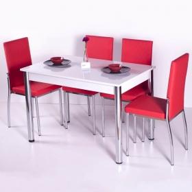 Favorite Mutfak 4 Sandalye Masa Takımı - Kırmızı