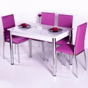 Favorite Mutfak 4 Sandalye Masa Takımı - Fuşya