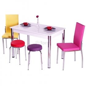 Minimania-M 2 Sandalye + 2 Tabure Mutfak Masa Takımı - Renk Seçenekli - Karışık Renkli