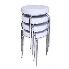 Evform Demir Ayaklı 4 Adet Deri Döşemeli Mutfak Balkon Taburesi Beyaz