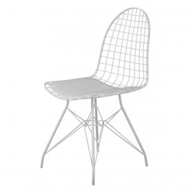 Wire Tel Kafes Sandalye Beyaz