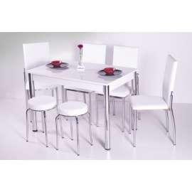 4 Sandalye ve 2 Tabure Sabit Masa Takımı Favorite-Beyaz