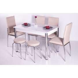 4 Sandalye ve 2 Tabure Sabit Masa Takımı Favorite-Kapuçino