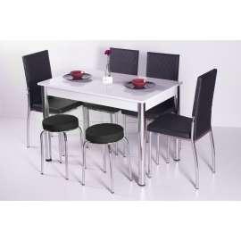 4 Sandalye ve 2 Tabure Sabit Masa Takımı Favorite-Siyah