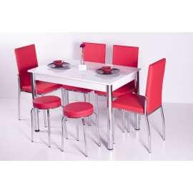 4 Sandalye ve 2 Tabure Sabit Masa Takımı Favorite-Kırmızı
