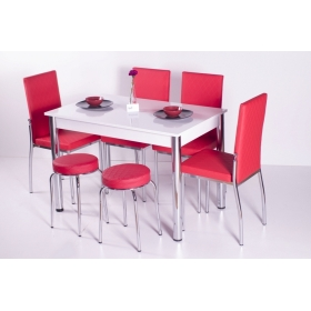 4 Sandalye ve 2 Tabure Sabit Masa Takımı Favorite - Kırmızı
